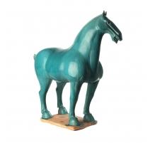 Cheval style han en terre cuite turquoise