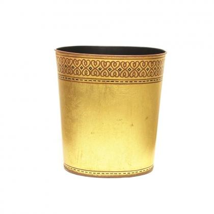 Corbeille à papiers en tôle, décor doré
