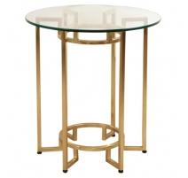 Table ronde en verre et laiton poli