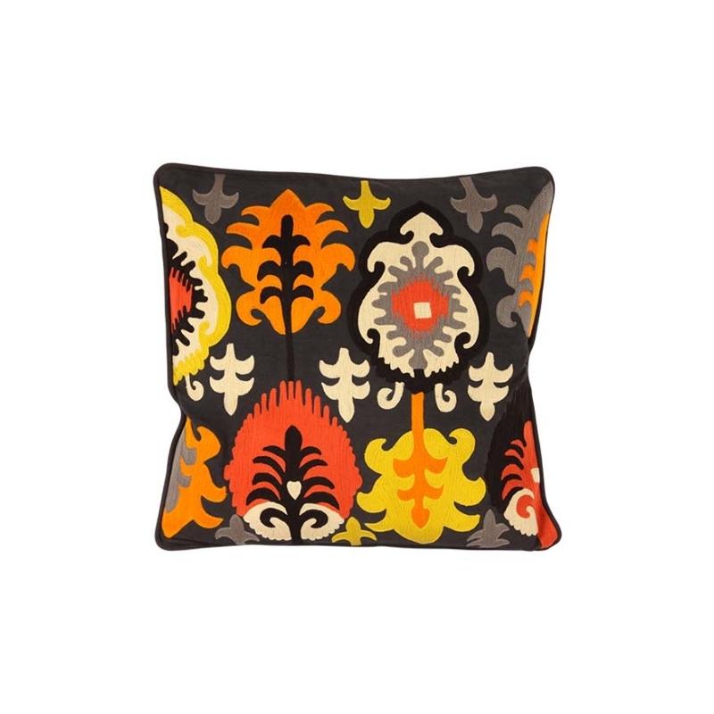 coussin ethnic jaune et orange fond noir moinat sa antiquit s d coration. Black Bedroom Furniture Sets. Home Design Ideas