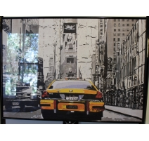 "Poster encadré ""Taxis à New York"" signé N.YERLY"
