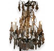 Lustre Louis XV à 11 lumières, bronze et cristaux