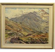 """Tableau """"Val d'Anniviers"""" signé J.A. MUSSLER"""
