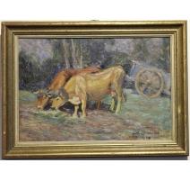 "Tableau ""Attelage"" signé David BURNAND 1924"