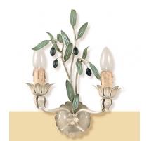 """Applique en fer peint """"olives"""" à 2 lumières"""