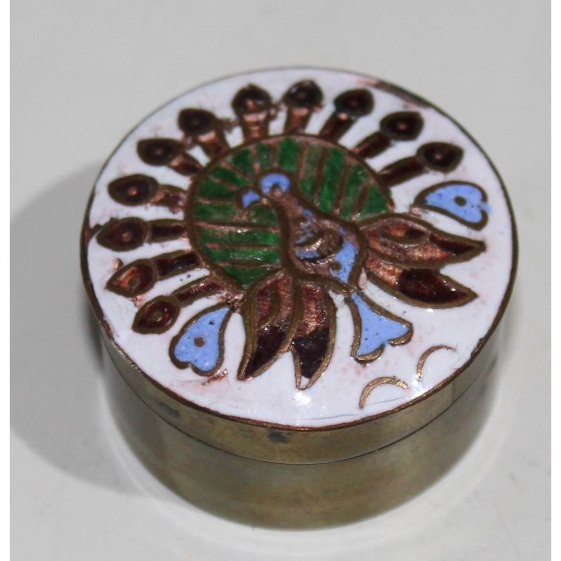Petite boite ronde cloisonnée Paon