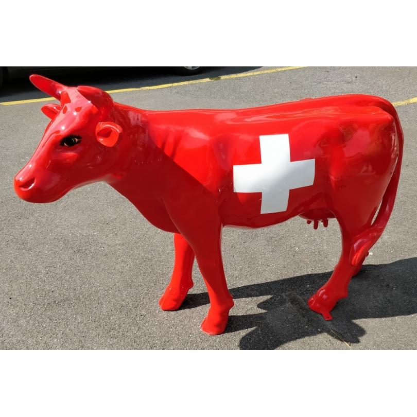 Vache en résine décor drapeau suisse