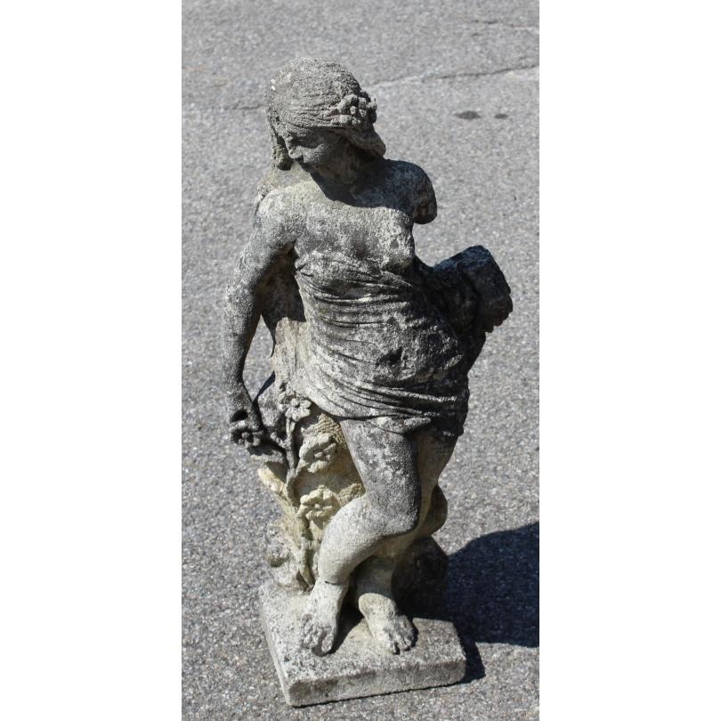 Statue en pierre de Vicnenza femme et fleurs