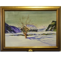 "Aquarelle ""Paysage de neige"" signé F. RUBLI"