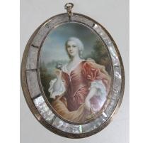 """Miniature """"Femme en robe rose"""" signée PIÈTRE"""