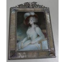 "Miniature ""Femme en robe bleue"" signée Th. KIRK"