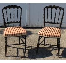 Paire de chaises Napoléon III noires