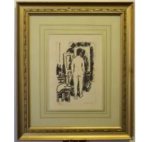 """Lithographie """"Femme au miroir"""" signée DOMENJOZ"""