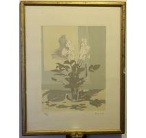 """Lithographie """"Bouquet de fleurs"""" signé BENN"""
