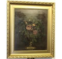 Tableau bouquet de fleurs monogrammé G.P.