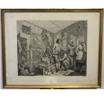 "Gravure ""The Rake's Progress, Plate I"" par HOGARTH"