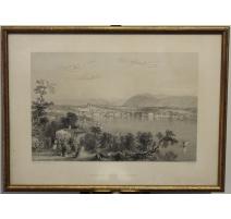 Gravure Geneva from Coligny par BARTLETT