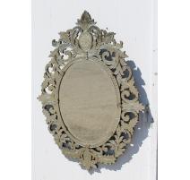 Miroir Vénitien ovale avec cadre gravé