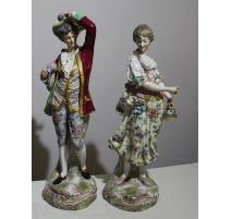 Paire de statues en porcelaine de Meissen