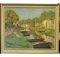 """Tableau """"Vue d'un canal"""" signé M HAUTRIVE 1949"""