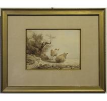 """Encre de chine """"Vaches"""" signé A CALAME 1833"""