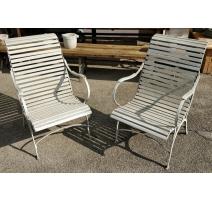 Paire de fauteuils de jardin lattes en bois