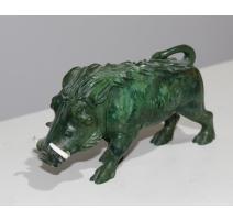 Phacochère en marbre vert et ivoire
