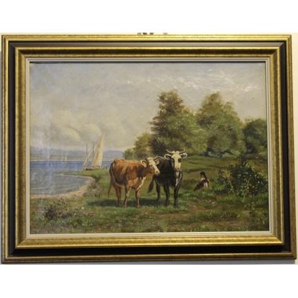 """Tableau """"Vaches au bord du lac"""" signé"""