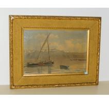 """Tableau """"Barques sur le Léman"""" signé L. MELLEY"""