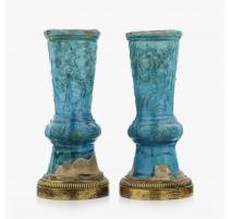 Paire de vases en porcelaine émaillée turquoise