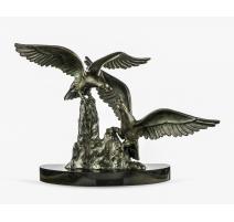 Combat d'aigles en bronze signé BADINI