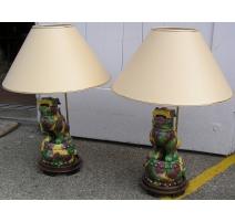 Paire de lampes Chiens de Fô.