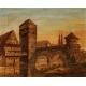 """Tableau """"Vue d'Alsace"""" en marqueterie et peinture"""
