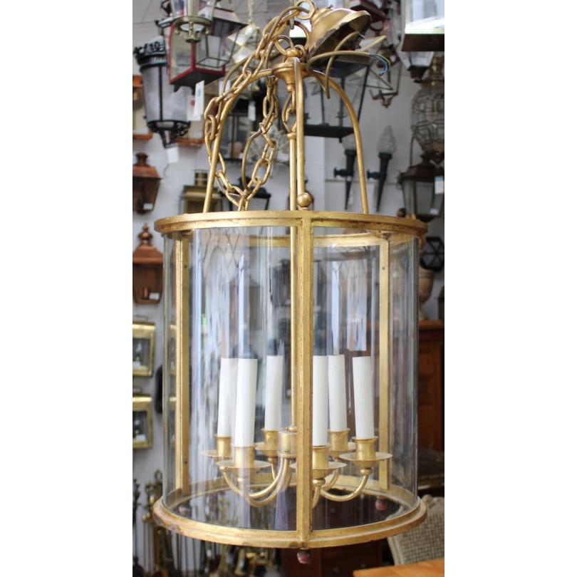 Lanterne ronde en fer doré à  6 lumières