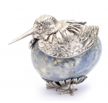 Oeuf en Bleu Bahia monté en oiseau