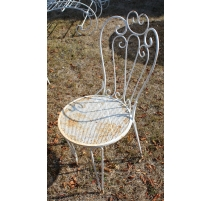 Lot de 4 chaises en fer forgé blanc