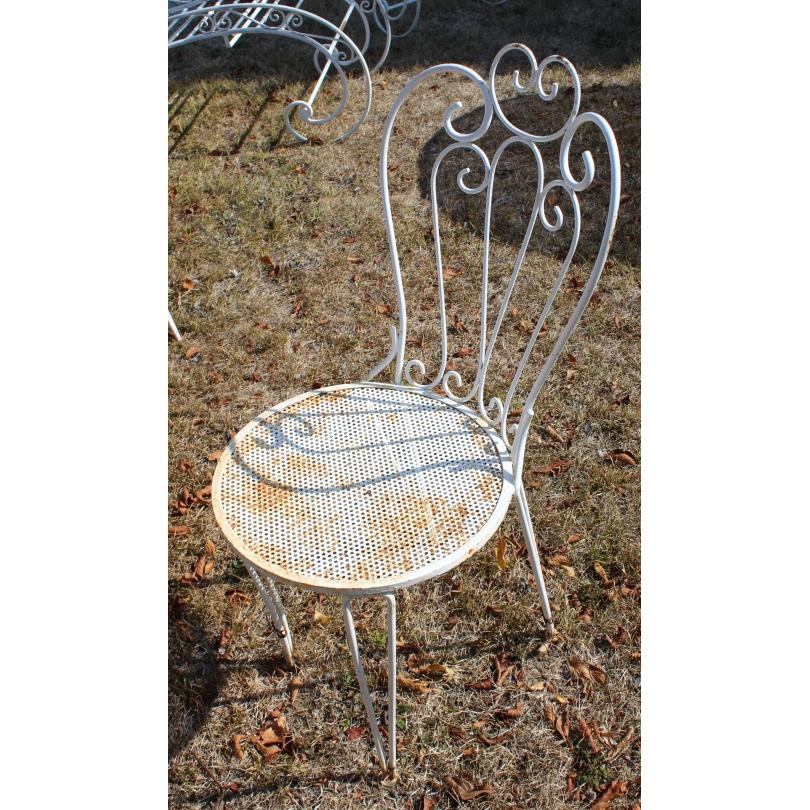 Lot de 4 chaises en fer forgé blanc