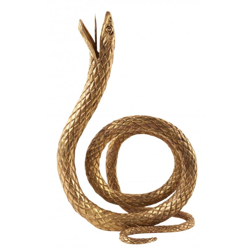 """Bougeoirs """"Serpent enroulé"""" en laiton doré"""