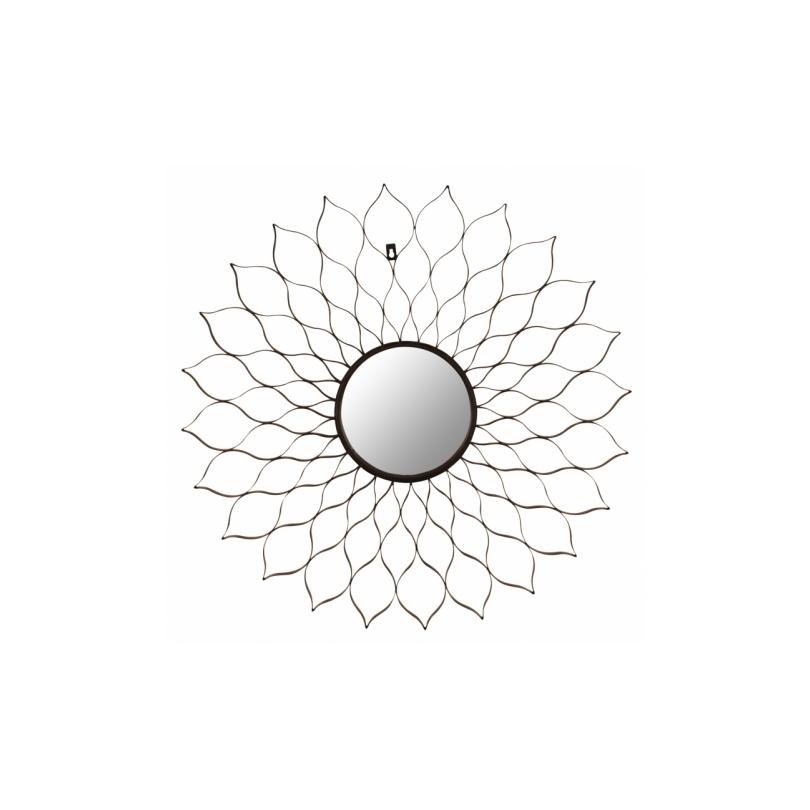 Miroir ajouré en forme de fleur en fer noir