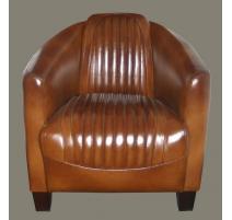 Fauteuil club Barquette sport en cuir brun