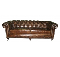 Canapé Chesterfield 3 place en cuir brun