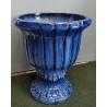 Vase en terre cuite vernissée bleue