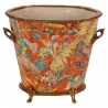 Cache-pot ovale en porcelaine orange