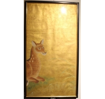 Panneau japonais fond doré, décor biche Sika