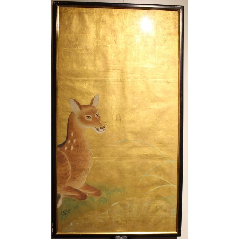 Fond Doré panneau japonais fond doré, décor biche sika - moinat sa