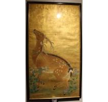 Panneau japonais fond doré, décor cerf Sika