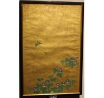 Panneau japonais fond doré, décor ipomée