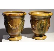 Paire de vases d'Anduze, coloris flamme