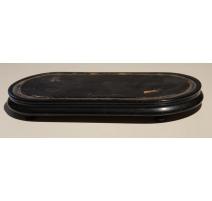 Socle de pendule ovale en bois noirci