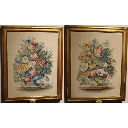 """Paire d'aquarelles """"Bouquets de fleurs"""""""